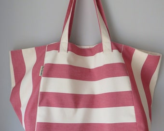 Extra large beach bag, oversized bag, stripey bag