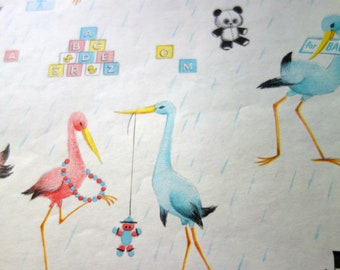 Vintage Gift Wrap, One Full Sheet of Wrapping Paper for a Baby Shower with Pink and Blue Stork Parents Getting Ready for their New Baby!