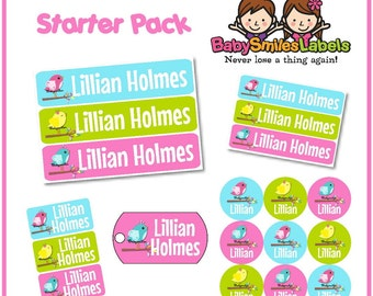 Starter Label Pack - Personalized Waterproof Labels Shoe Labels Clothing Tag Labels Bag Tag School Labels Name Labels - Lil Cute Girly Birds