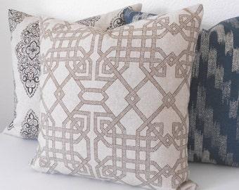 Tan and brown trellis decorative pillow cover, natural lattice pillow