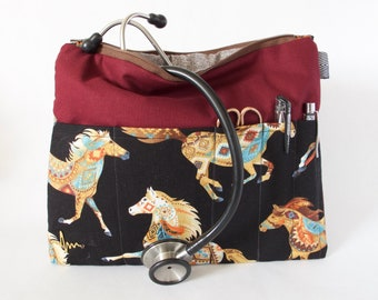Aztec Horse Stethoscope Bag. Vet Tech Gift. Vet Organizer Bag. Medical School Bag. Horse Lover Vet Gift. Horse Vet Bag. Vet Tech Student Bag