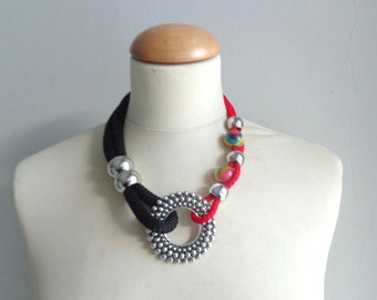 Red black tribal statement colorful necklace