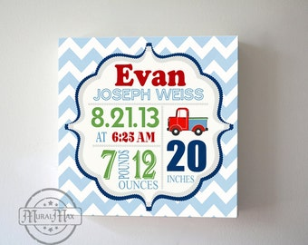 Baby Birth Announcement Nursery Art ,Baby Shower Gift  Boys Nursery Decor, Personalized Nursery Decor Custom Birth Stat Canvas Art