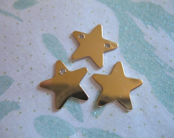 "1-10 pc, STAR Pendant Charm, 14k Gold Filled or Sterling Silver, 12.5 mm, 1/2"" inch, in, 24 gauge ga, blankstar1 sc.12 solo"
