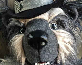 "Mr. Carson  artist teddy bear 24"" ombre gray to black yak fur custom bowler hat by Karen Knapp of Tindle Bears"