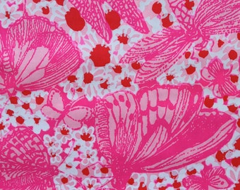 """key west hand print fabric's ~ zuzek ~ bette's butters poplin cotton fabric square 14""""x14"""" ~ lilly pulitzer"""
