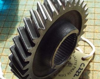 Iron Gear, helical cut, transmission cog, steampunk, industrial art, metal sculpture, gas station paperweight, man cave decor, garage