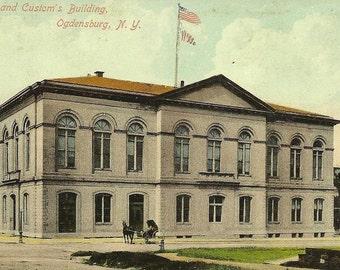 Post Office and Custom's Building OGDENSBURG New York 1912 cancel
