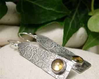 Citrine Earrings, Long Sterling Silver Dangle Earrings, Yellow Cabochon Gemstone Earrings, Citrine Drop Earrings November Birthstone Jewelry