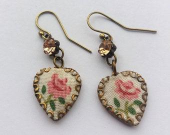 Heart Earrings. Rose and Jewel