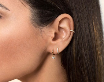 Tiny hoop earrings - Small hoops - Cz hoops - tiny hoops - small hoop earrings - dainty hoops- gold hoops - dainty hoop earrings