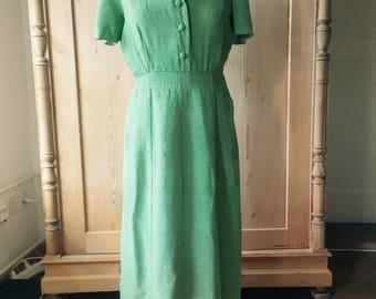 green silk 1940s dress size medium
