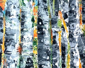 Abstract trees painting in acrylics on wooden panel 16 by 20 inches, 2 inches deep with white edges
