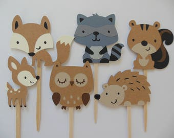 Woodland Forest Animal Cupcake Toppers - Child Birthday Party Decorations - Gender Neutral Baby Shower Decoratipns - Set of 6