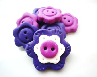 flower shaped button handmade with polymer clay