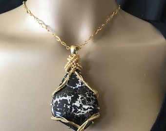 Tiffany Stone Wrapped with Gold Filled Wire on Gold plated Chained = Handmade in the USA