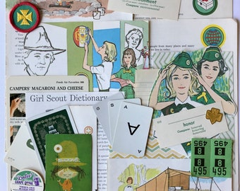 Be a Scout! Girl Scouts, GSA, Scouting, 25 Pieces, Vintage Paper, New Paper, Patch, Junk Journal, Scrapbooking, Planner, Juliette Lowe