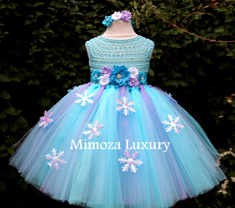 Frozen Elsa Princess Flower girl dress, turquoise tutu dress, sky ...