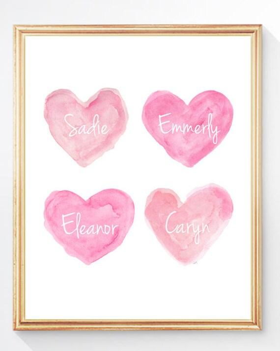 Sisters Art Print, 8x10 in Pink