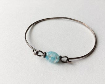 Silver Bracelet   Vintage Blue Flower Beaded Silver Tone Bracelet Bangle   Floral bracelet   Gifts for her under 20   Blue vintage jewelry  
