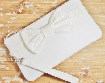 Ivory Linen and Lace Bow Clutch - Personalized Bridesmaid Clutch - Wedding
