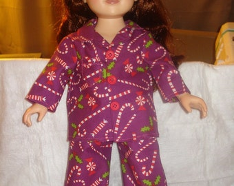 Pajamas in purple with candy canes and mint candy design for 18 inch Dolls - ag122