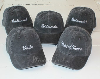 Personalized Hat Sets Custom Baseball Caps, Monogram Bridal Party Hats, Wedding Party Gifts