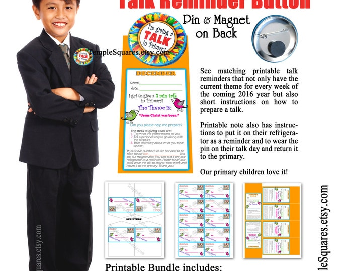 Primary Talk Reminder Pin on Button & Refrigerator Magnet. Comes in Packs of 5 - See matching printables.