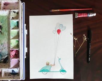 Vespa and Ballons Watercolor Art Print