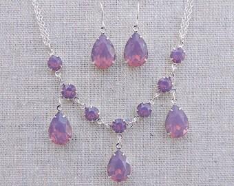 Swarovski Crystal Necklace Earrings Set, Cyclamen Opal Statement Necklace, Sterling Silver Plated Dangling Teardrop Earrings, Wedding Bridal