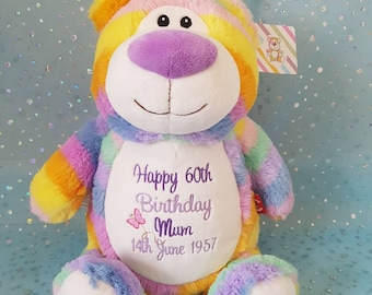 Personalised Cubbies, Pastel Rainbow Teddy