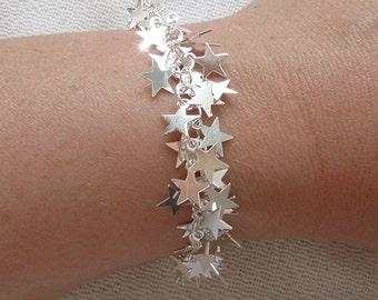 Stars Bracelet - Charms Bracelet - Silver Star - Falling Stars
