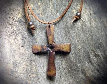 Forged Frederick's Split Cross Copper Christian Crucifix Necklace Pendant