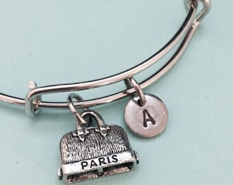 Paris purse bangle, paris purse charm bracelet, expandable bangle, charm bangle, personalized bracelet, initial bracelet, monogram