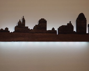 Cincinnati Skyline Lighted Wood Art For Wall or Table