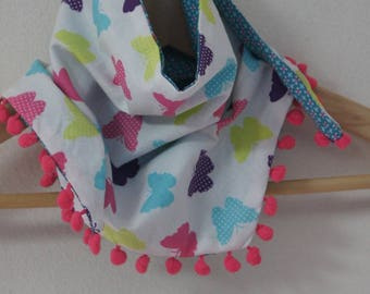 """Reversible child's scarf """"butterflies and flowers"""""""