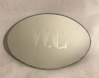 Old door WC toilet etched mirror