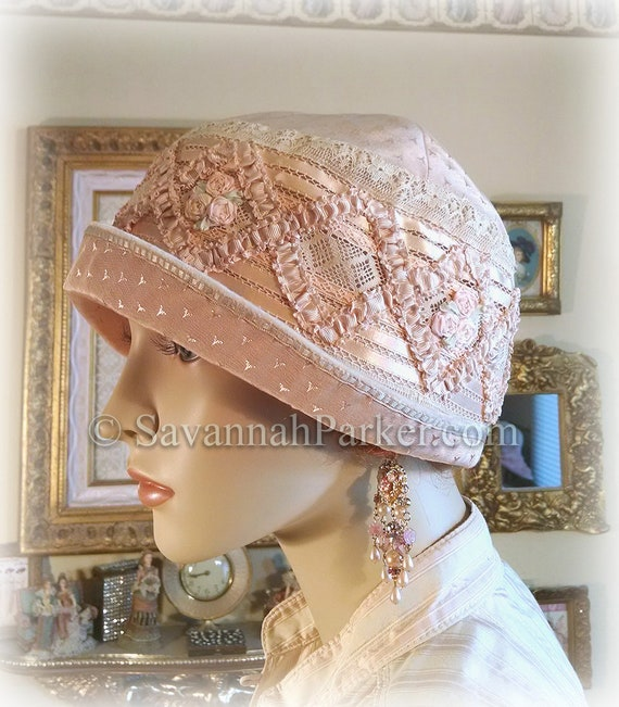 Antique Style 1920s Gatsby Flapper Ribbonwork Downton Abbey Cloche - Peach Silk - Antique Lace - Silk Ribbonwork Flowers - Made to Order