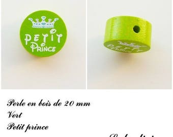 20 mm wooden bead, Pearl flat, little prince: green / white