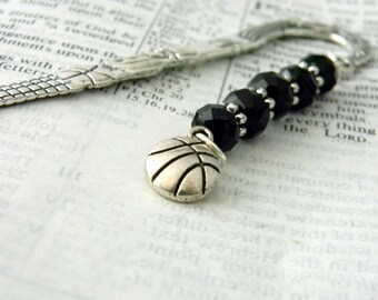 Fancy Basketball Bookmark with Black Glass Beads Shepherd Hook Silver Bookmark