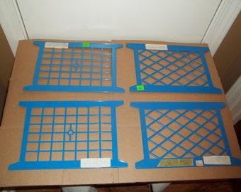 4-Blue Plastic Ribbon or Trim Holders/Spools