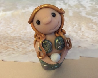 Little Mermaid with Pearl and Gold Hair - Polymer Clay Sculpture - Cake Topper keepsake - Art by Sarah Price