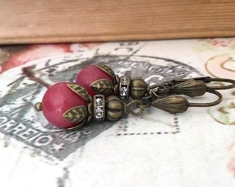 Pink antiqued brass earrings