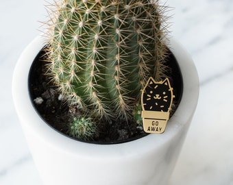 Cactus Cat Enamel Lapel Pin // black / gold / cactus / succulent / plant / go away / grumpy cat / cloisonne pin / black cat pin