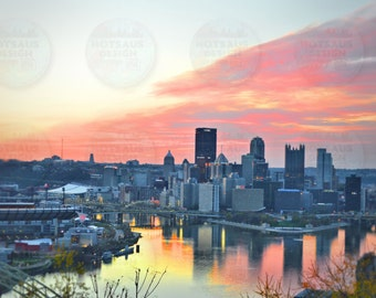 Pittsburgh Photography - Sunrise over the Steel City from West End Overlook - Three Rivers Fine Art Print - Pittsburgh Skyline Wall Fine Art