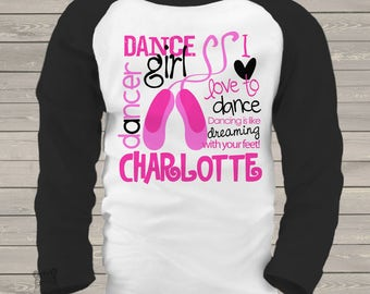 childrens personalized shirt-dance girl ballet adorably personalized t-shirt for your little dancer or ballerina MBAL1-001