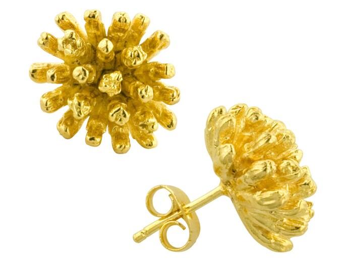 Gold Magnolia Star Stud Earrings