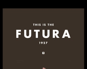 Art Print Futura, Typography Print, Screenprint, Print, Poster, Office Art, Living Room Art, Minimalist, Graphic Design, Wes Anderson, Brown