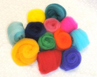 12 Hand dyed Merino Wool Roving Buns for Felting Multicolor Felting Supplies Wool Top Blending Kit Fiber Art