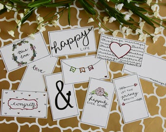 Wedding Gift Tags Printable Handwritten Color Yourself - 10 Count